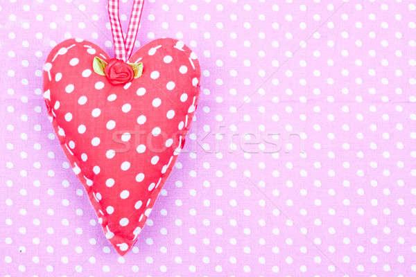 Vermelho tecido coração rosa feliz Foto stock © bernashafo