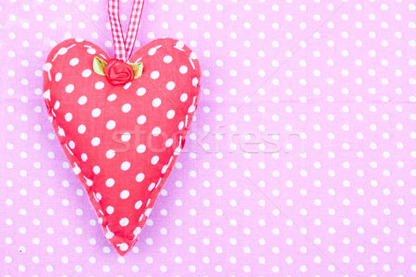Rouge à pois tissu coeur rose heureux Photo stock © bernashafo