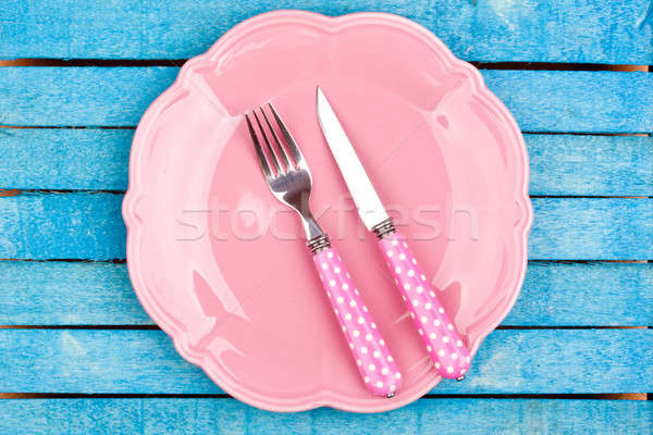 empty pink plate and fork,knife Stock photo © bernashafo