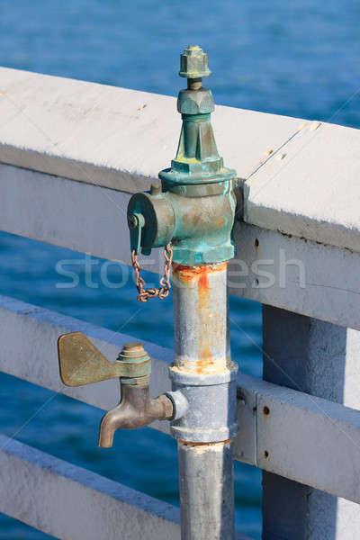öreg vízcsap részlet tenger fém narancs Stock fotó © Bertl123