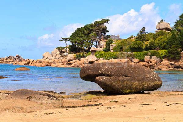 花崗岩 バラ 海岸 フランス 水 雲 ストックフォト © Bertl123