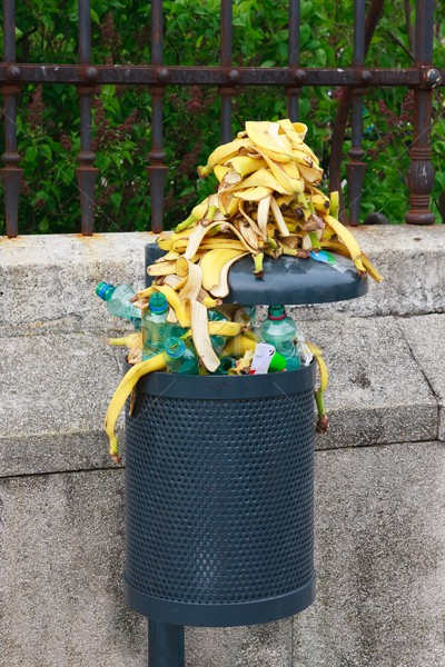 Stock photo: Trash bin full of bananas after end of marathon competition