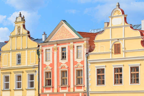 Facade of Renaissance houses in Telc, Czech Republic (a UNESCO w Stock photo © Bertl123