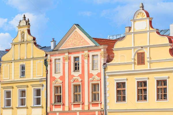 Homlokzat házak Csehország unesco világ örökség Stock fotó © Bertl123