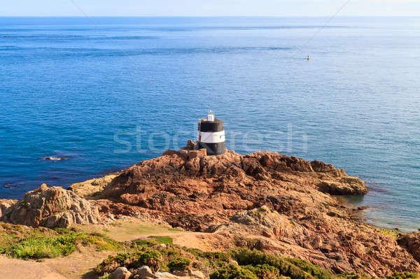 ポイント 灯台 チャンネル 島々 雲 太陽 ストックフォト © Bertl123