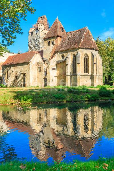 Burg gotischen Kirche Ruinen Wasser Natur Stock foto © Bertl123