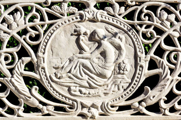 Beautiful cast iron art on park bench Stock photo © Bertl123