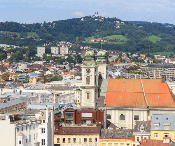 Linz Cityscape with Old Cathedral and Poestlingberg, Austria Stock photo © Bertl123