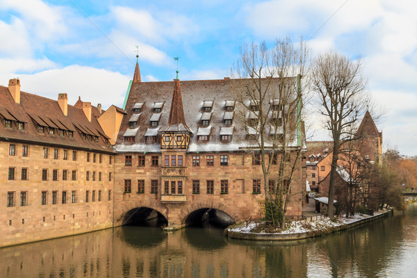 древних средневековых больницу реке Германия Рождества Сток-фото © Bertl123