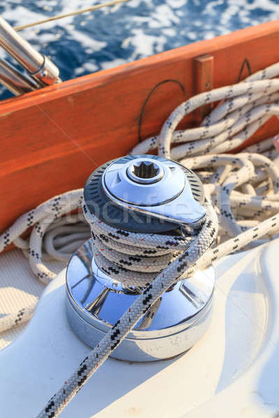 Sailboat winch and rope detail on yacht Stock photo © Bertl123