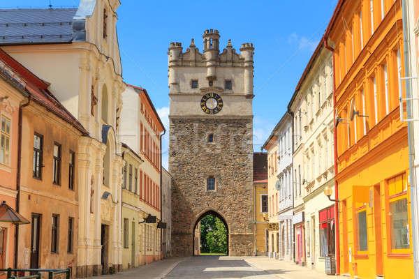 öreg város kapu Csehország óra templom Stock fotó © Bertl123