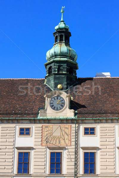 Tower of Imperial palace with sun dial, Hofburg, Vienna, Austria Stock photo © Bertl123
