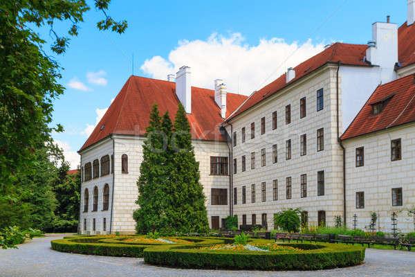 Kastély cseh Csehország fal kék kő Stock fotó © Bertl123