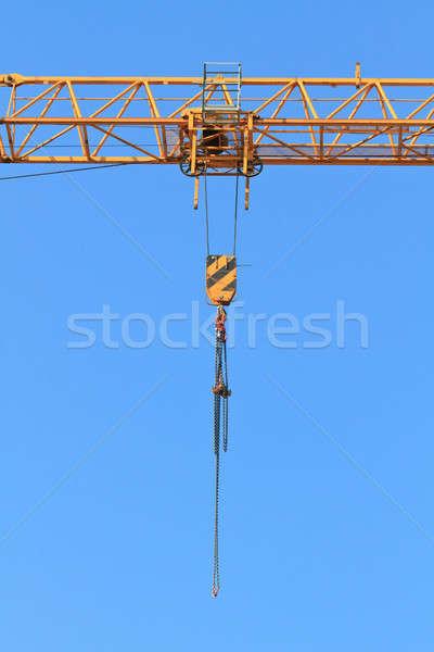 Gru cielo lavoro arancione cavo industriali Foto d'archivio © Bertl123