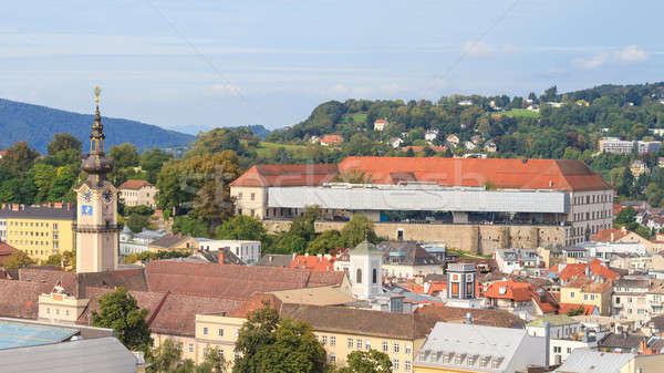Linz Cityscape with Schlossmuseum and Tower of Upper Austrian La Stock photo © Bertl123