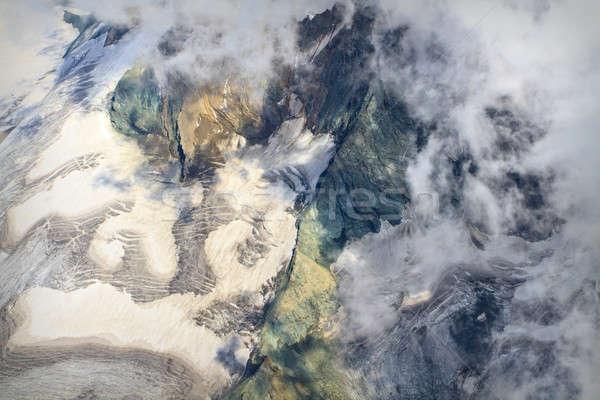 Légifelvétel gleccser felhők tájkép hó nyár Stock fotó © Bertl123