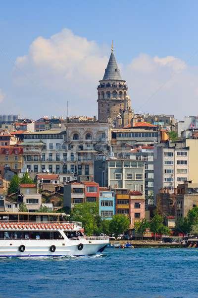 Galata Tower and Ferry cruising harbor, Istanbul, Turkey Stock photo © Bertl123