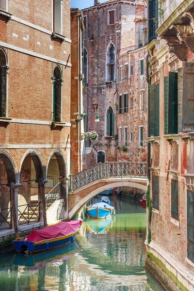 Romantische kanaal brug centrum Venetië Italië Stockfoto © Bertl123
