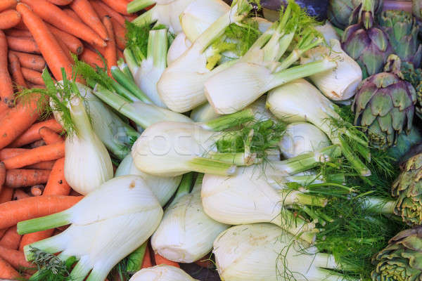 Fennel, carrots and  artichokes at local market Stock photo © Bertl123