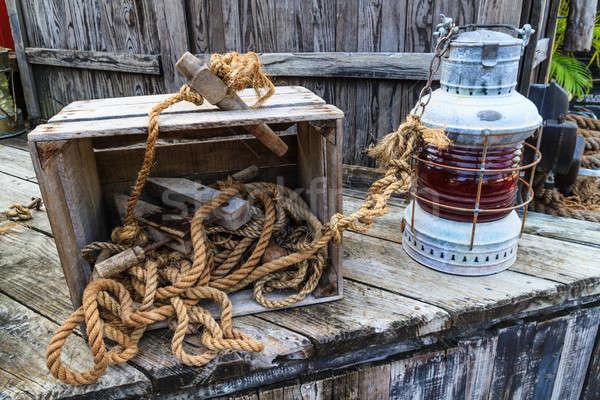 Vintage sailing boat equipment Stock photo © Bertl123