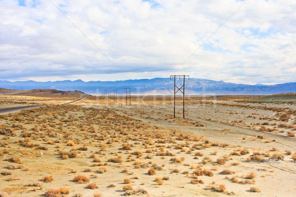 California deserto panorama albero nubi strada Foto d'archivio © Bertl123