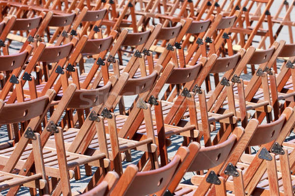 Wooden chairs before concert (pattern / empty / no people) Stock photo © Bertl123