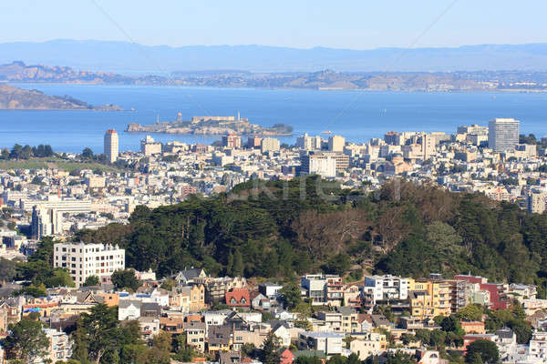 Kilátás iker San Francisco sziluett Stock fotó © Bertl123