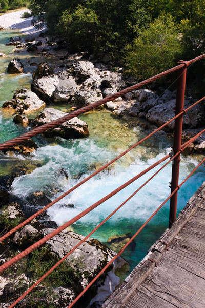 Ponte alpino rio Eslovenia água nuvens Foto stock © Bertl123