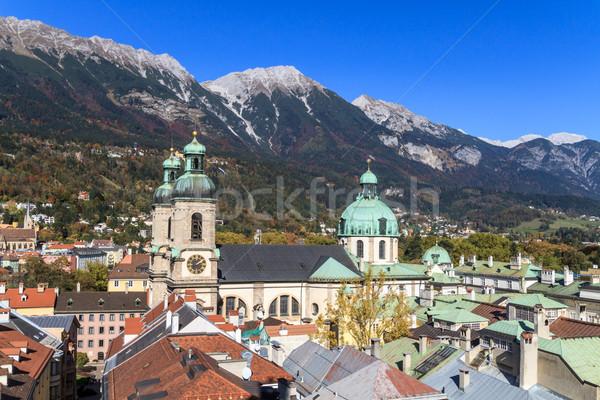 Kilátás város katedrális égbolt ház utca Stock fotó © Bertl123