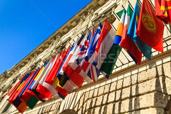 Vienna, Austria - international set of flags on Hofburg palace Stock photo © Bertl123