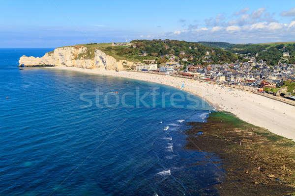 Etretat, aerial view of village on Normandy coast, France Stock photo © Bertl123