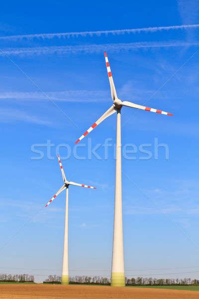 Wind turbines farm Stock photo © Bertl123
