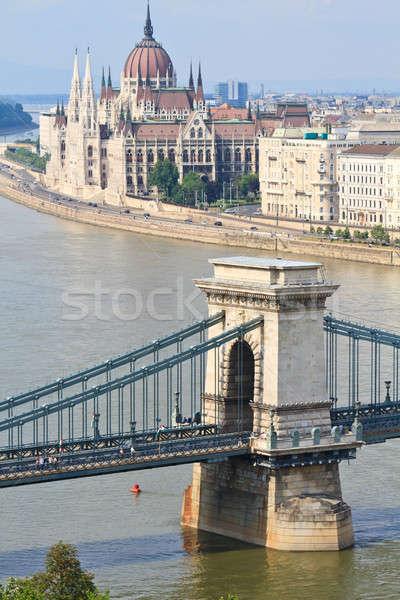 Lánc híd magyar parlament Budapest Magyarország Stock fotó © Bertl123