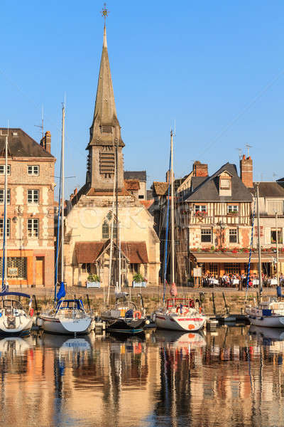 Honfleur harbour with boats and old houses, Normandy, France Stock photo © Bertl123
