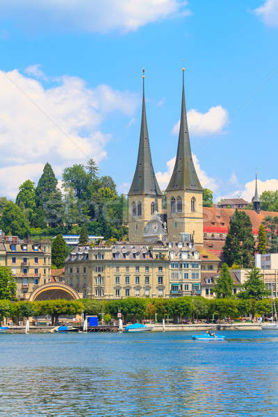 Lucerne city view with river Reuss Stock photo © Bertl123
