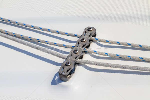 Vitorlás kötél részlet jacht víz sport Stock fotó © Bertl123