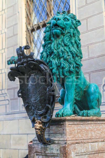 Löwen Statue München Stadt Bereich Architektur Stock foto © Bertl123