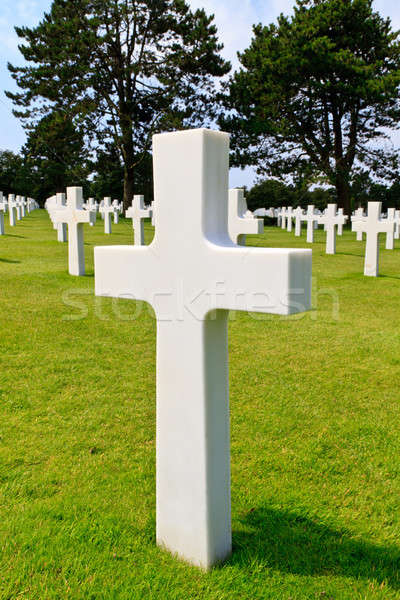 Marble Cross of fallen Soldier, American War Cemetery near Omaha Stock photo © Bertl123
