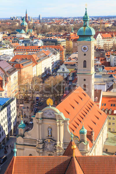 Munich Panorama with old city hall, Holy Spirit Church and Viktu Stock photo © Bertl123