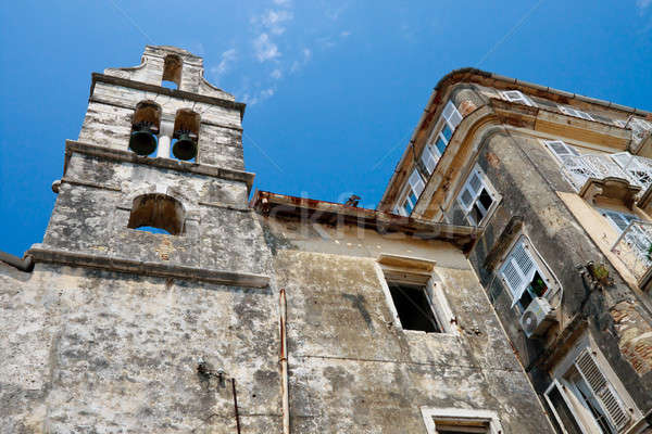 Decayed old church and houses, Corfu City Greece Stock photo © Bertl123