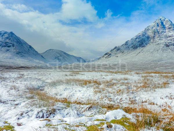 Skót-Felföld festői víz fű természet tájkép Stock fotó © Bertl123