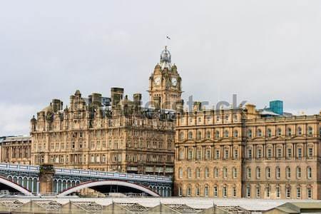 Hotel Edinburgh zamek panoramę jesienią parku Zdjęcia stock © Bertl123