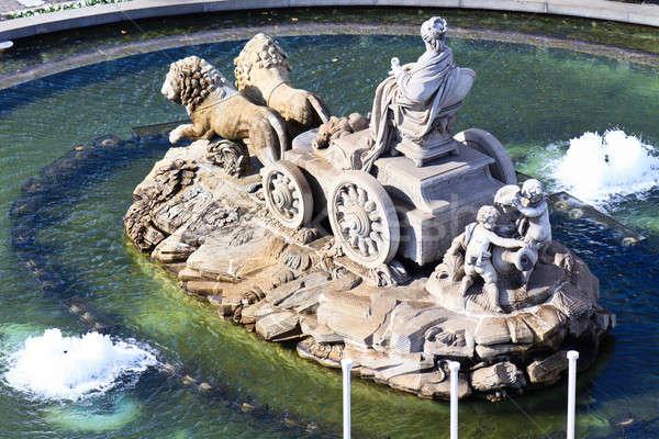 Fonte Madri Espanha edifício cidade azul Foto stock © Bertl123