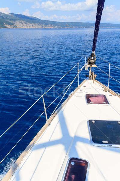 Stockfoto: Boeg · zeilen · boot · jacht · Blauw · zee