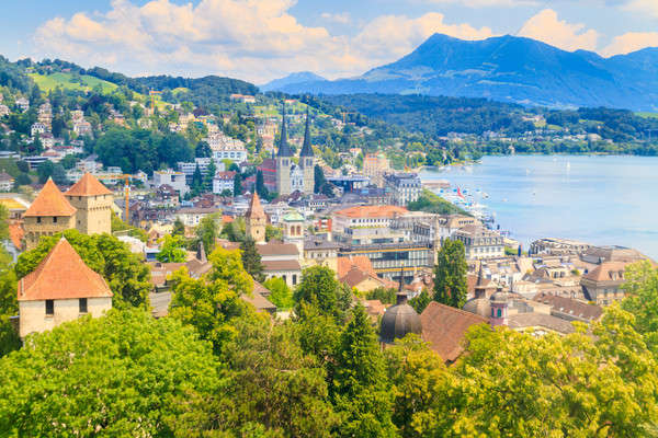 Luzern, City View from city walls with lake Stock photo © Bertl123