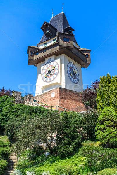 Berühmt Uhr Turm Graz Österreich Baum Stock foto © Bertl123