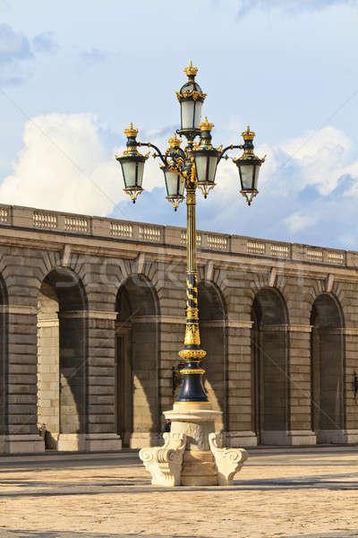 Barokowy latarnia królewski pałac Madryt Hiszpania Zdjęcia stock © Bertl123