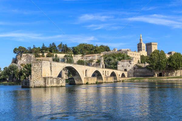 Avignon Bridge with Popes Palace, Pont Saint-Bénezet, Provence, Stock photo © Bertl123