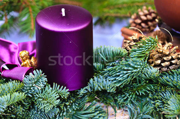 Vela natal advento coroa pormenor ver Foto stock © Bertl123
