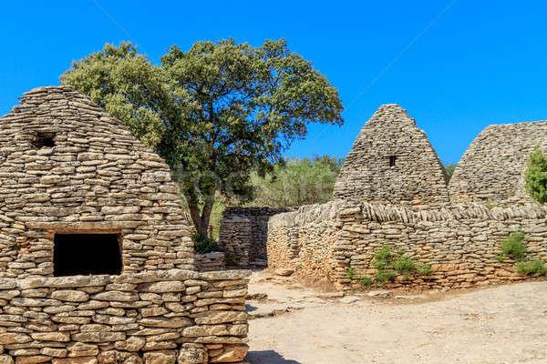 Kő falu déli Franciaország ház otthon Stock fotó © Bertl123